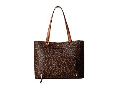 Calvin Klein Louise Monogram Tote (Brown/Khaki) Handbags