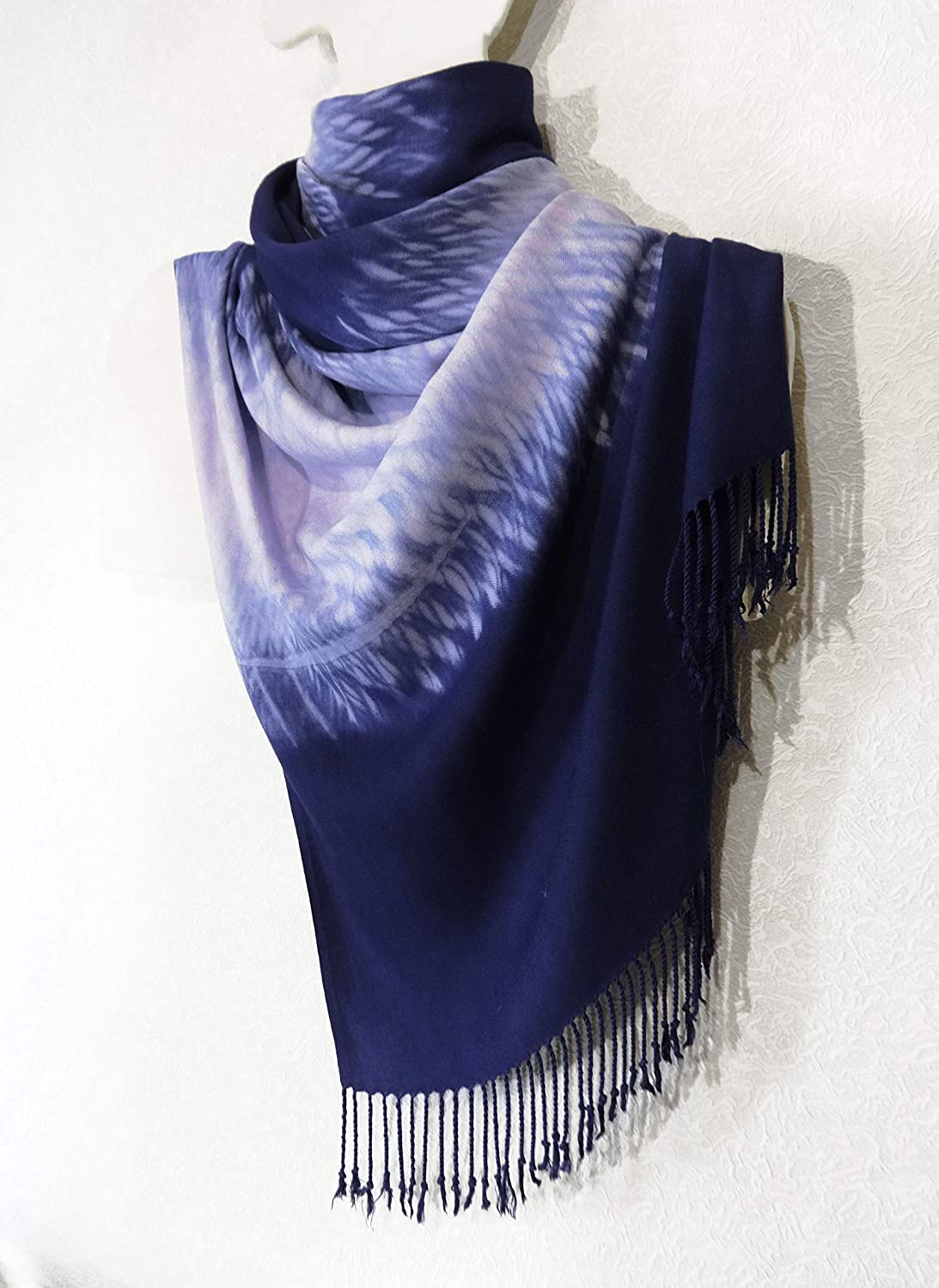 Large Max 88% OFF Scarf Hand Dyed 55% OFF Shibori Womens and Mens Blue Shawl White