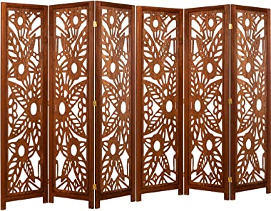 Legacy Decor 6 Panel Solid Wood Screen Room Divider, Walnut Brown Color with Decorative Floral Cutouts
