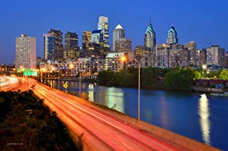 Philadelphia Skyline at Dusk Sunset Color TWO SIZES Philly City Downtown 12 inches x 18 inches Photographic Panorama Poster Print Photo Picture Standard Size