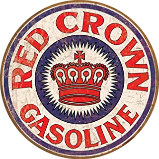 Desperate Enterprises Red Crown Gasoline Tin Sign, 11.75