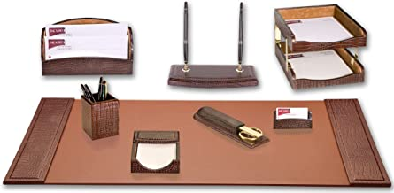 Dacasso Brown Crocodile Embossed Leather 10-Piece Desk Set