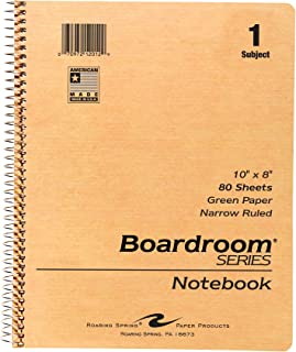 Roaring Spring Wirebound Notebook with Green Paper, One Subject, 10
