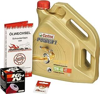 Castrol 10W 40 Öl + K&N Ölfilter für Kawasaki ZZR 1100, ZXT10C ZXT10D   Ölwechselset inkl. Motoröl, Filter, Dichtring