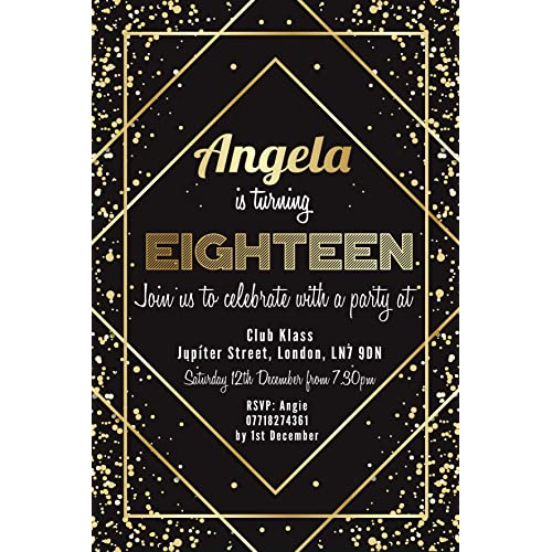 18th Birthday Party Invitations Gold Confetti