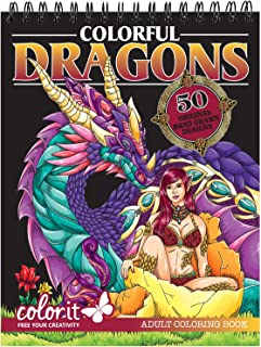 Colourful Dragons Adult Colouring Book - 50 Single-Sided Designs, Thick Smooth Paper, Lay Flat Hardback Covers, Spiral Bou...