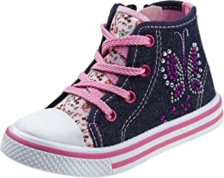 Laura Ashley Girls Side Zipper High Top with Glitter & Studs (Toddler)