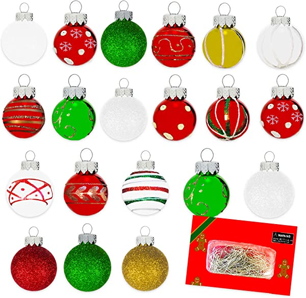 Mini Christmas Ornaments With Hooks Pack Of 20 Shatterproof Ball Ornaments In Assorted Colors And Styles For Christmas Tree Decoration Office Car Ugly Sweaters And More