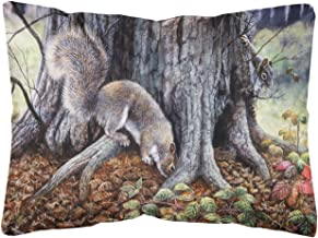 Grey Squirrels around the Tree Fabric Decorative Pillow