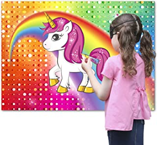 Pin the Horn on the Unicorn Party Favor Game for Kids - Includes: 24x Reusable Sticker Horns, Perfect for Large Parties, 2...
