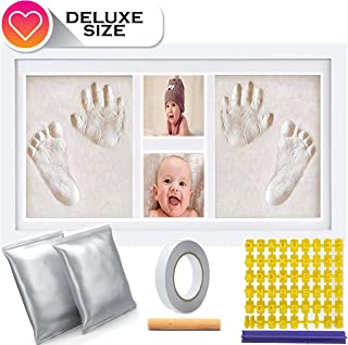 Deluxe Size Baby Hand and Footprint Clay Kit – Non-Toxic No Bake Clay Keepsake - Baby Shower Present | Newborn Baby Gift | Twin Babies | 16 x 9 inches Picture Frame with 600 Grams of Clay and Stencil