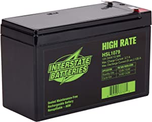 Interstate Batteries 12V 9Ah High Rate Battery (HSL1079) Sealed Lead Acid Rechargeable SLA AGM (F2 Terminal) UPS Backup Systems, Cranking Systems, Generators
