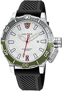 ساعة نوتيكا للرجال ستانلس ستيل كوارتز بسوار من السيليكون، اسود، 22 كاجوال موديل NAGLS112