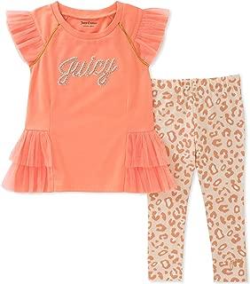 Juicy Couture 橘滋 女小童 时尚上衣和紧身裤套装 Coral/Print 5