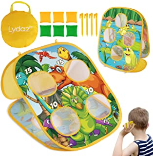 Lydaz Bean Bag Toss Game for Kids, Outdoor Beach Toys for Toddlers - Double Sided Dinosaur & Frog Themes , Outside Party G...