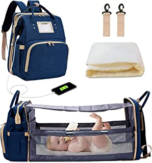 Diaper Backpack with Changing Bed, 3 in 1 Travel Diaper Bag with Changing Station, Water Resistant Portable Baby Bag with Bassinet, Blue Foldable Diaper Crib (Bag + Crib + USB)