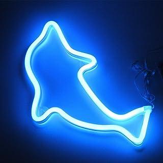 XIYUNTE Dolphin luz de neón Señales luminosas LED Delfín señales de neón Iluminación de ambiente azul Delfín Iluminación de interior decoración para, bar, reunirse, navideña