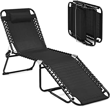 DORTALA Outdoor & Indoor Beach Lounge Chair, Folding Patio Lounge Chaise w/Pillow, 4-Level Backrest & Adjustable Pedal, Suita