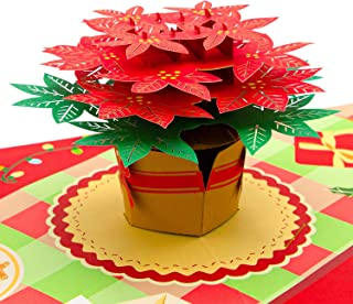 Paper Love Christmas Flower Pop Up Card, Handmade 3D Popup Greeting Cards for Christmas, Holiday, Xmas Gift