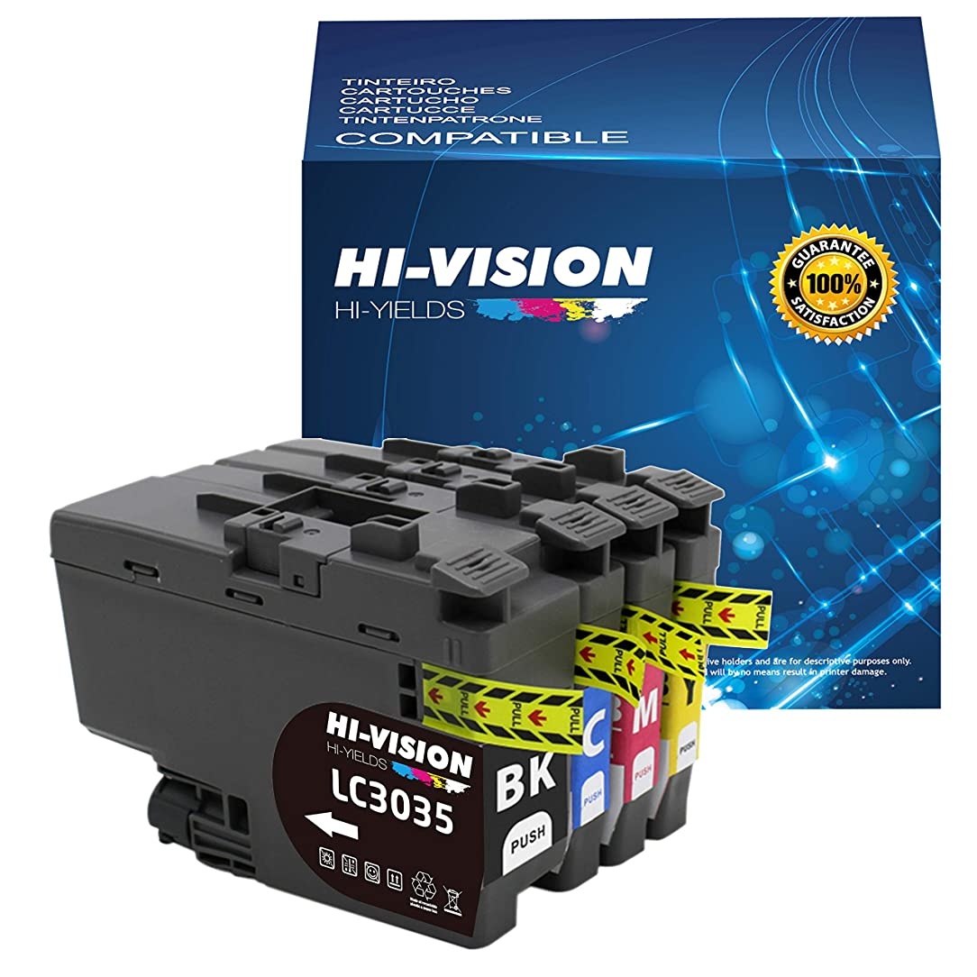 HI-Vision Compatible LC3035XXL High Yield XXL Ink Cartridge for Brother Brother MFC-J995DW, MFC-J995DWXL Printer (Black, Cyan, Yellow, Magenta)