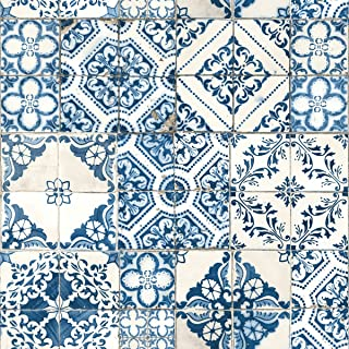 RoomMates Mediterranian Tile Peel and Stick Wallpaper, 20.5