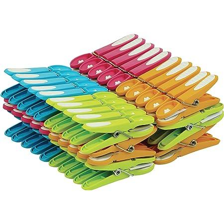 LAGUELLE - 60 Pinces A Linge ANTIGLISSANTES - Fabrication Française - Assorties Vert, Bleu, Orange, Rose