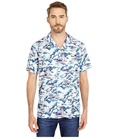 Lacoste Southern France Print Cotton Hawaiian Fit Shirt (Willo/Lata/White) Men