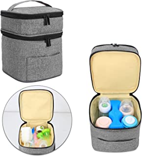 Luxja Breastmilk Cooler Bag (Fits 4 Bottles, Up to 5 Ounce), Double-Layer Cooler Bag for Breast Milk and Bottle Set (Bag Only), Gray