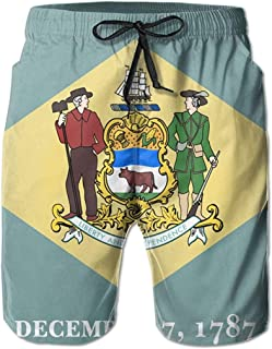 Bernice Winifred Flag of Delaware Hombres Bañadores de Secado rápido Pantalones Cortos de Playa Pantalones