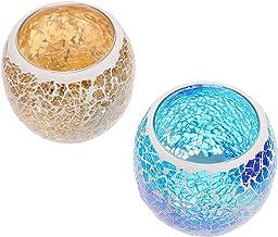 BESPORTBLE 2pcs Glass Candleholder Votive Candle Holders Mercury Glass Candle Holder Tealight Candle Holder Wedding Party ...