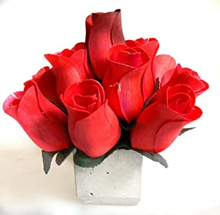 Red Roses Artificial Flowers 13 Scented Wood Rose Bouquet with Refresher Spray in Cement Pot