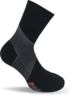 Vitalsox Italy, Equilibrium Sensory Technology Compression Socks Crew-Pairs Fitted, Black Crew, Large