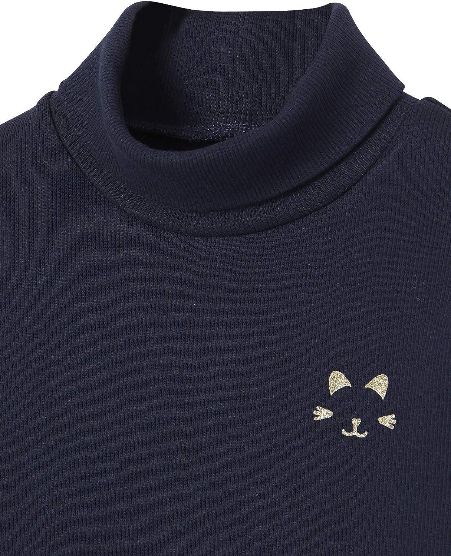 Vertbaudet T-Shirt col roul/é Fille Motif Chat iris/é Poitrine