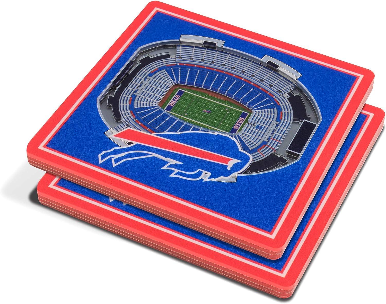 Set of 2 YouTheFan NFL 3D Team StadiumViews 4x4 Coasters
