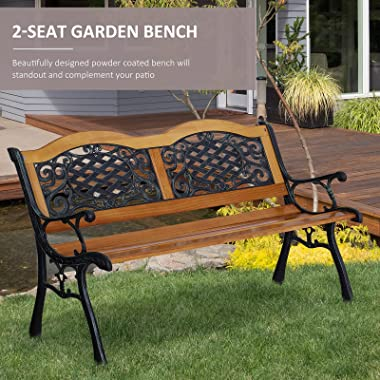 """Outsunny 50"""" Garden Bench Outdoor Loveseat with Cast Steel Legs Antique Armrest and Backrest for Patio, Deck, and Yard"""
