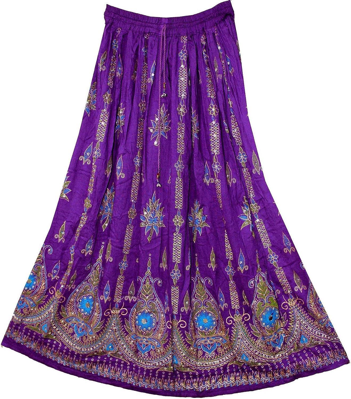 Purple Indian Sequin Bohemian Boho Hippie Gypsy Womens Maxi Skirt
