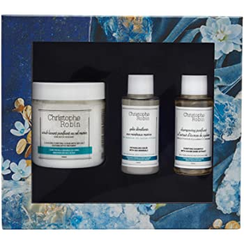 Christophe Robin Purifying Detox Holiday Set (3Pcs Kit: Cleansing Purifying Scrub with Sea Salt, Detangling Gelée with Sea Minerals, Purifying Shampoo with Jujube Bark Extract)