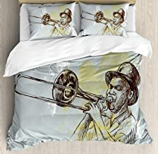 Jazz Music California King Size Duvet Cover Set - Trumpet Player Illustration Rock and Roll Party Classic Artful Design Bedding Sets Decorative Pillowcases for Childrens/Kids/Teens/Adults, 3 Piece