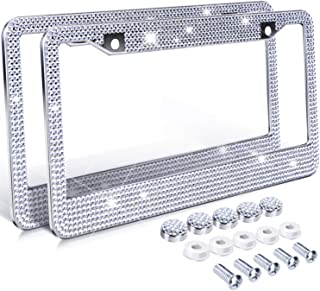 Ohuhu Diamond License Plate Frame, 2 Pack Bling Rhinestone Car License Plate Frames Holders with 7 Shiny Crystal Rows, Metal Chrome Auto License Plate Cover with Mounting Screws