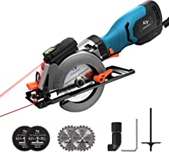 Circular Saw 6.2A 3500RPM,Tilswall Mini Circular Saw with Metal Handle, Cutting Depth 46mm(90°) 35mm(45°), Laser Guide