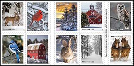 Winter Scenes Forever Postage Stamps Book of 20 First Class US Postal Holiday Celebrations Wedding Celebration Anniversary...