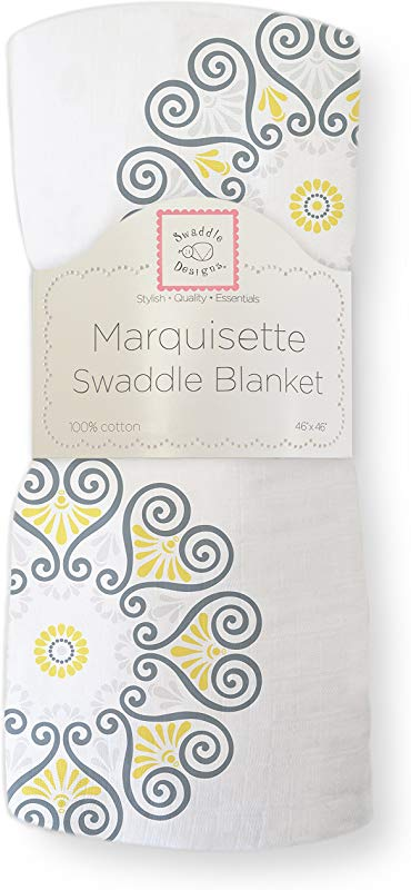 SwaddleDesigns Marquisette Swaddling Blanket Premium Cotton Muslin Yellow Medallions