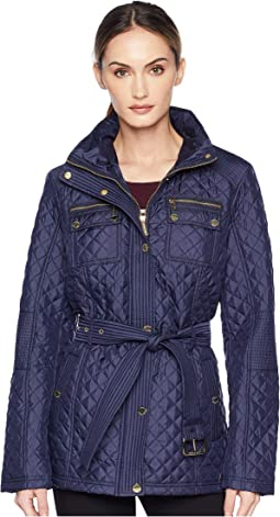 0c863009a93 Michael michael kors zip front embossed jacket with knit sides ...