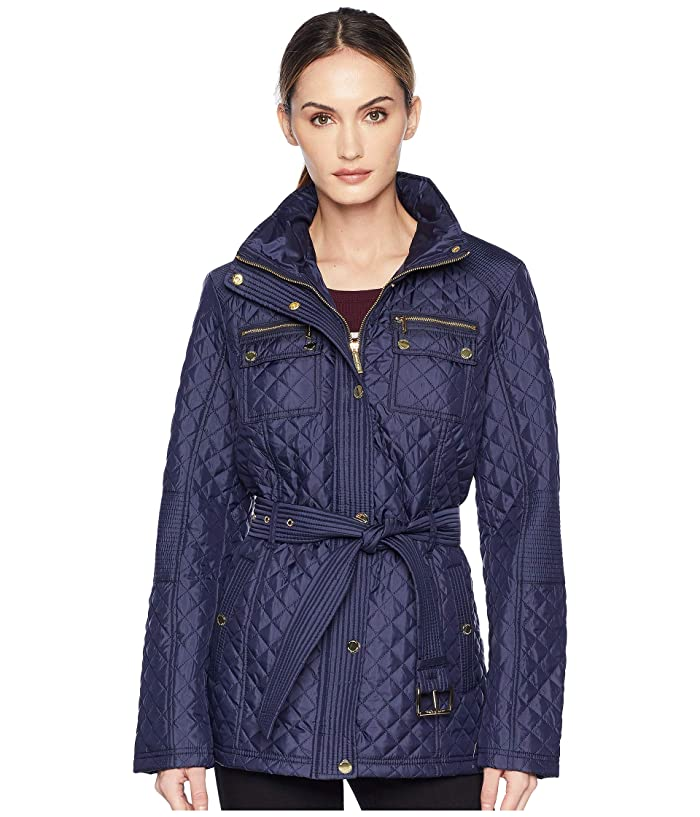 MICHAEL Michael Kors Belted Short Snap Front Quilt M423454GZ (Navy) Women