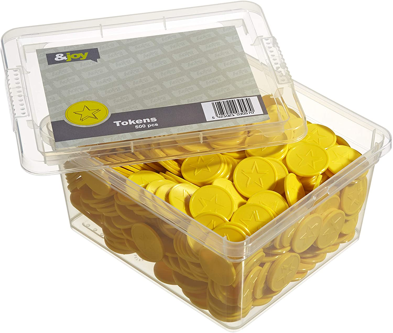 En-Joy Embossed Plastic Tokens - 500 Coins mm 29 激安通販ショッピング Yellow Star 大幅にプライスダウン