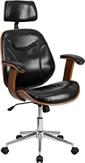 Flash Furniture High Back Black Leather Executive Ergonomic Wood Swivel Office Chair with Arms