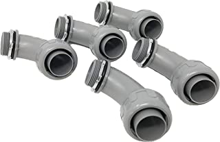 Sealproof 1-1/4-Inch 5 Pack Non-Metallic Liquid-Tight 90-Degree Conduit Connector Fitting, 1-1/4