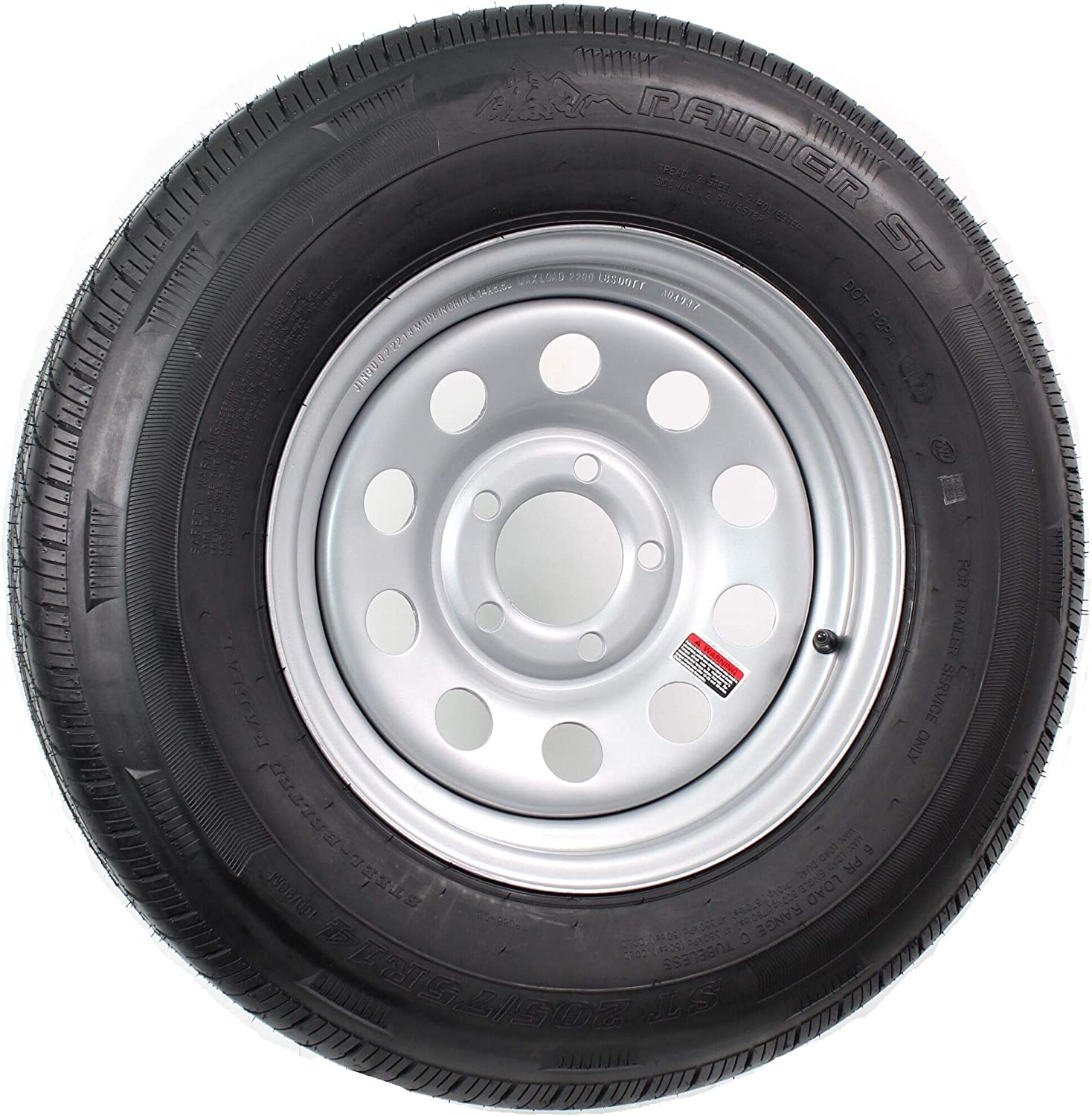 Industry No. 1 67% OFF of fixed price Radial Trailer Tire and Rim ST205 75R14 Silver Modula 5-4.5 14X6
