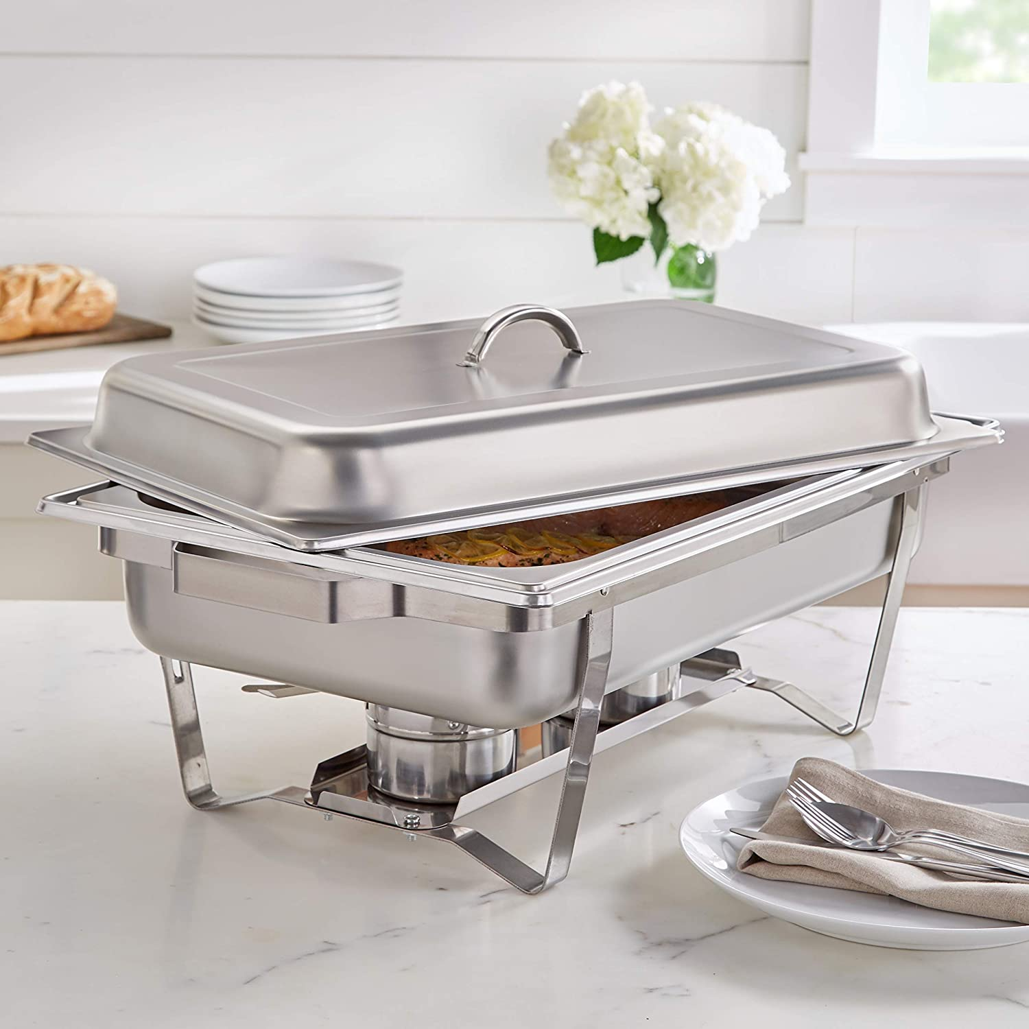 BrylaneHome 9 Quart Stainless Chafing Dish Rectangular Stainles Manufacturer Max 83% OFF OFFicial shop