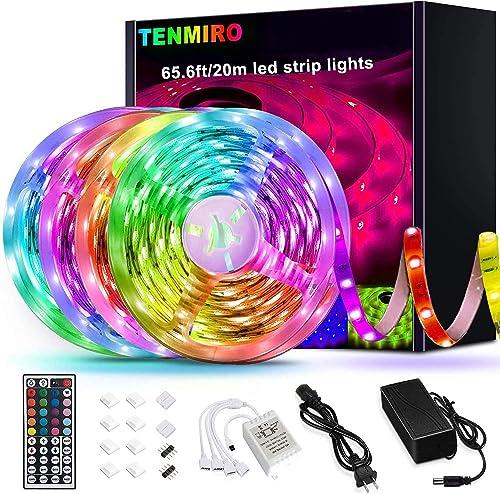 Tenmiro 65.6ft Led Strip Lights, Ultra Long RGB 5050 Color Changing LED Light Strips Kit with 44 Keys Ir Remote Led L...